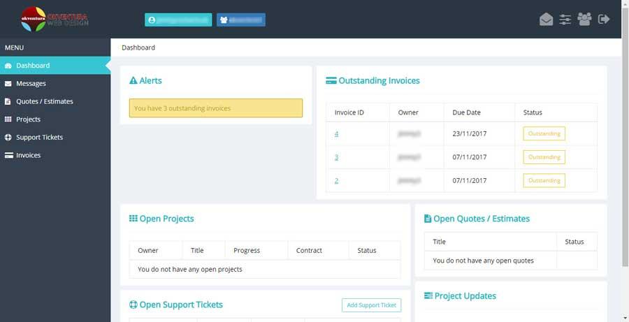 Okventura-Support-Portal-Client-Dashboard